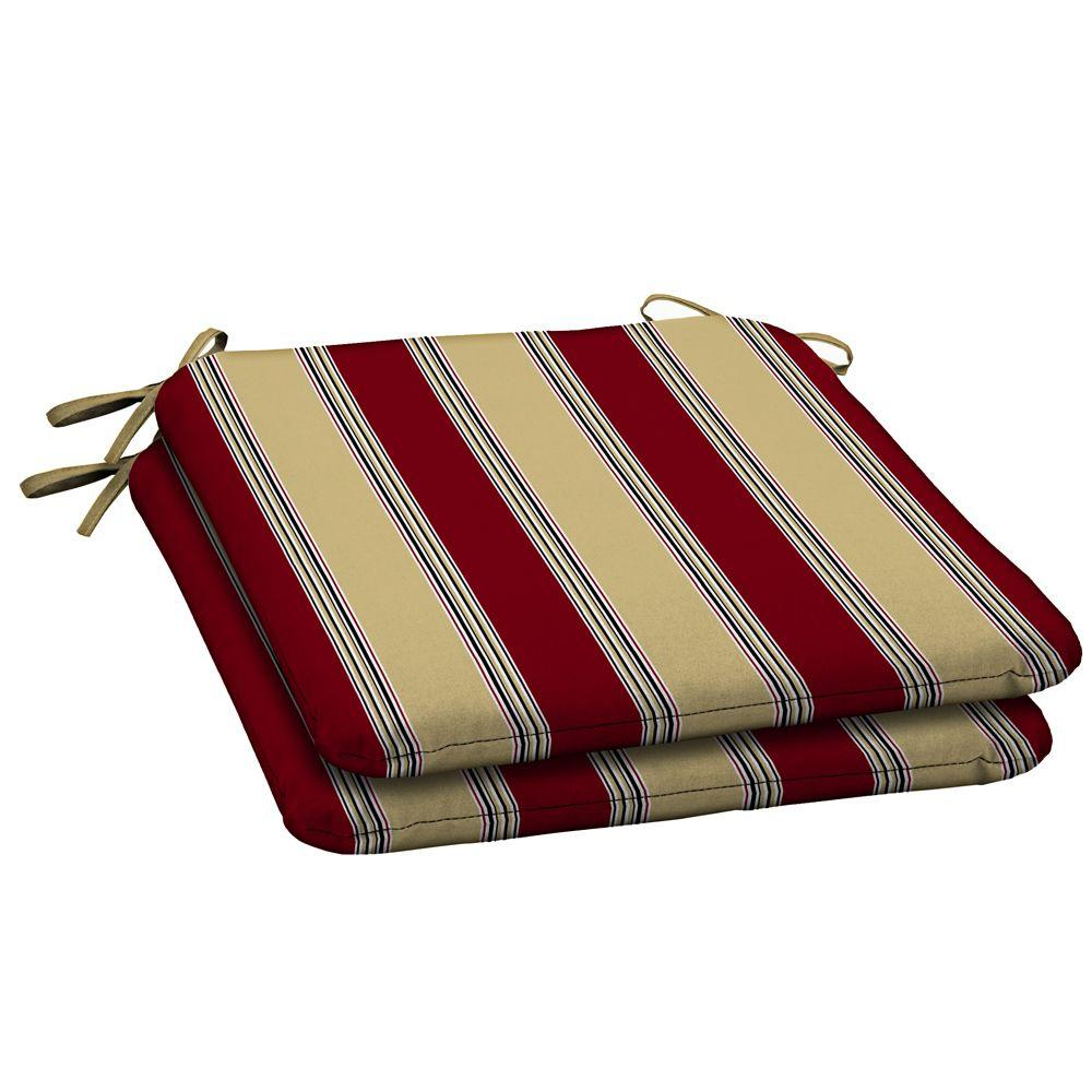 Hampton Bay Chili Stripe Outdoor Seat Pad (2-Pack)