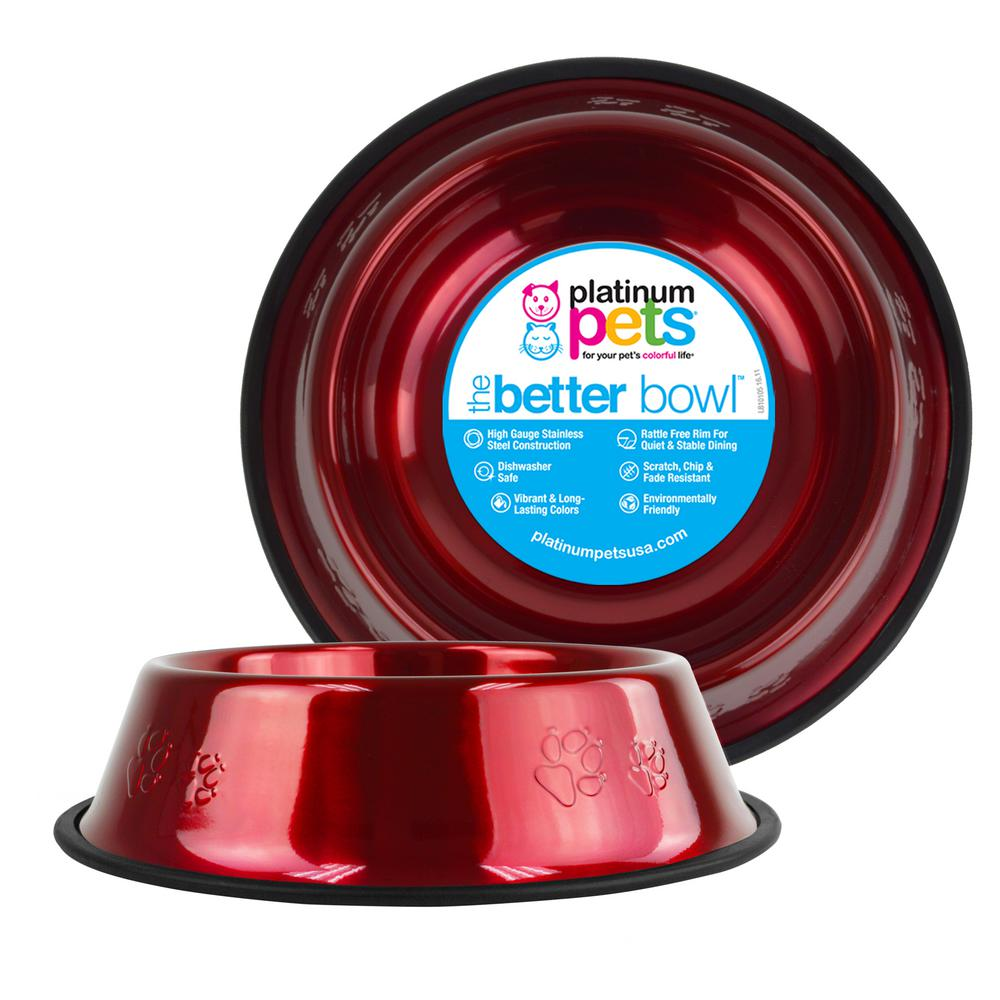 10 Cup Embossed Non-Tip Stainless Steel Dog Bowl, Candy Apple Red