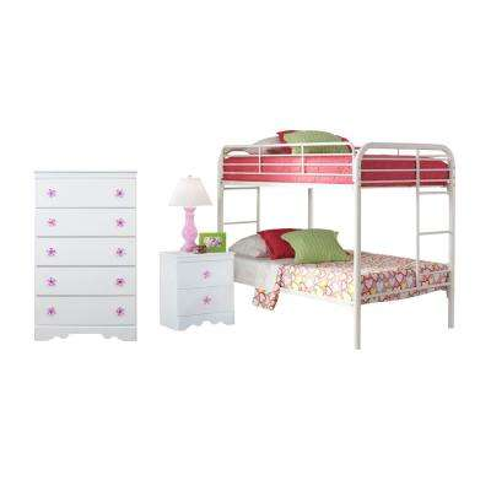 Savannah Collection 269K3TT 3-Piece Twin White Bedroom Set