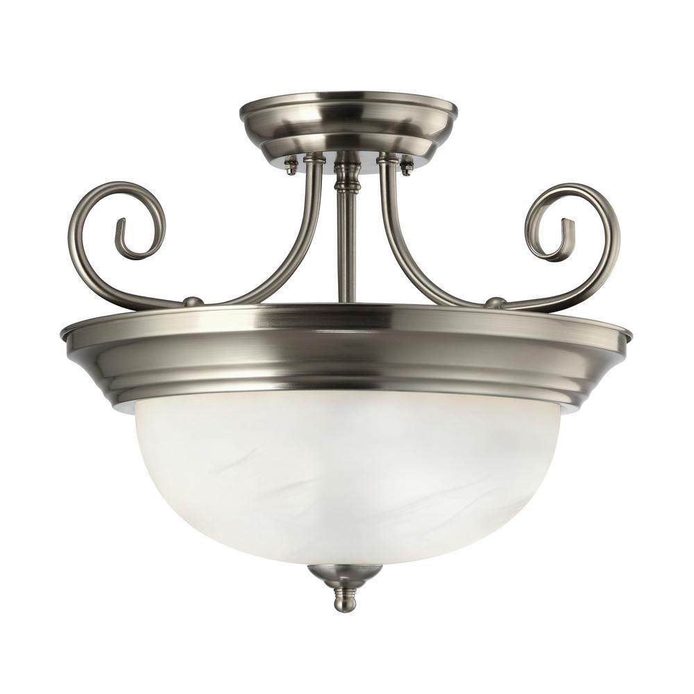 Julianna 2-Light Brushed Nickel Semi-Flushmount Light