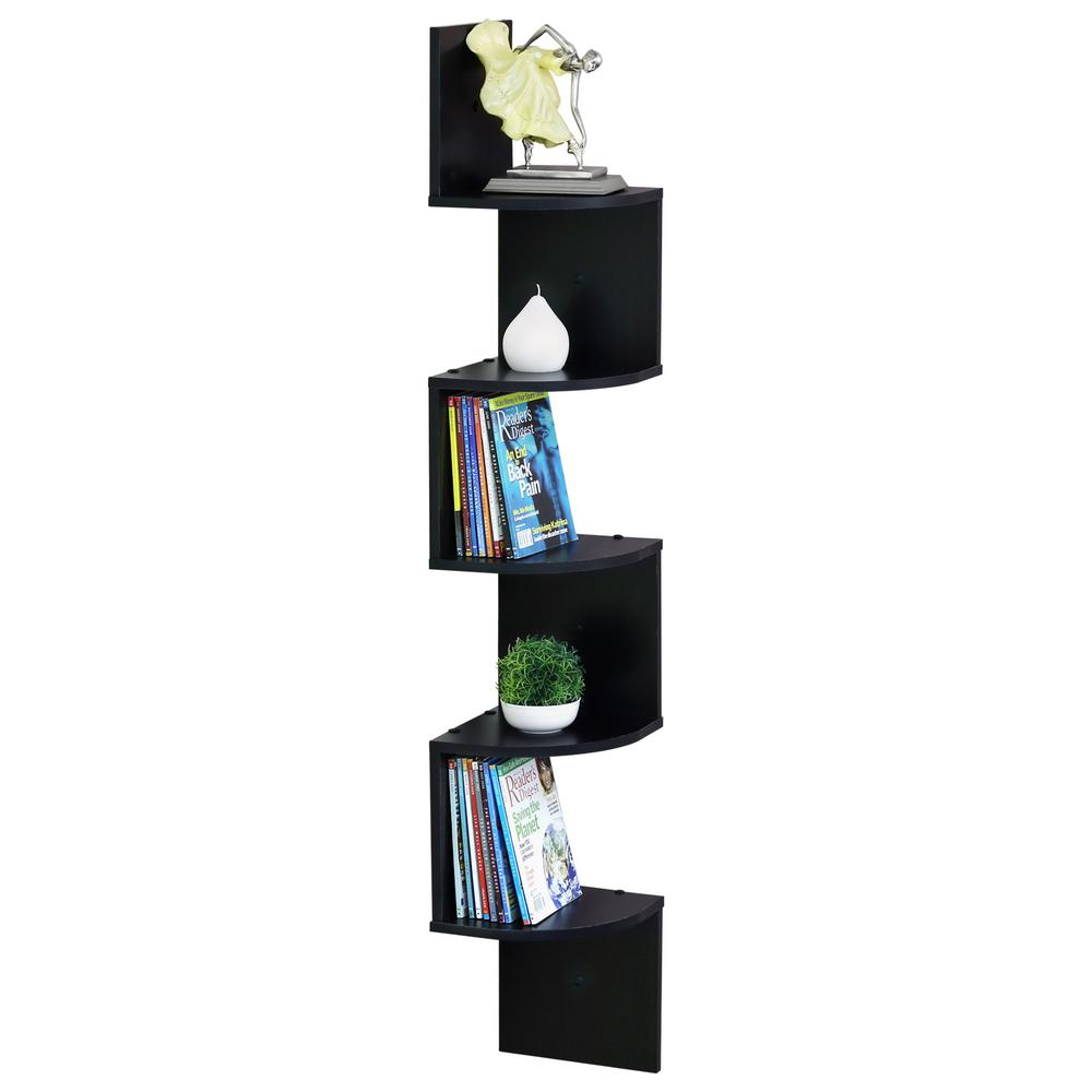 Espresso Floating Radial Corner Shelf