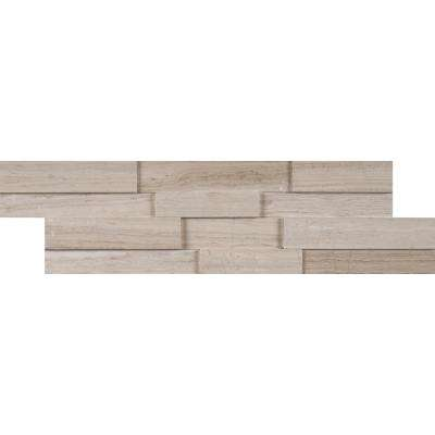 White Oak 3D Mini Ledger Panel 4.5 in. x 16 in. Honed Marble Wall Tile (5 sq. ft. / case)