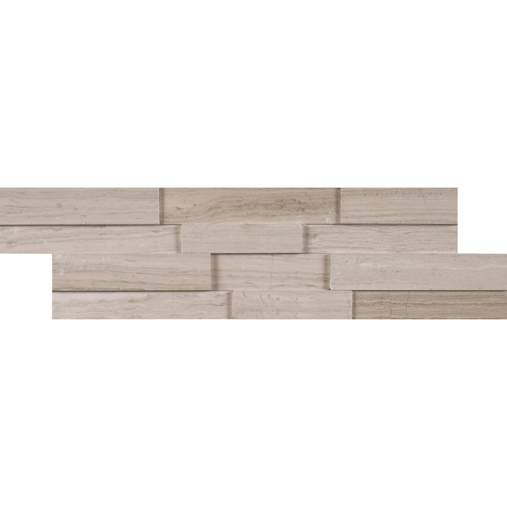 MSI White Oak 3D Mini Ledger Panel 4.5 in. x 16 in. Honed Marble Wall Tile (5 sq. ft. / case)