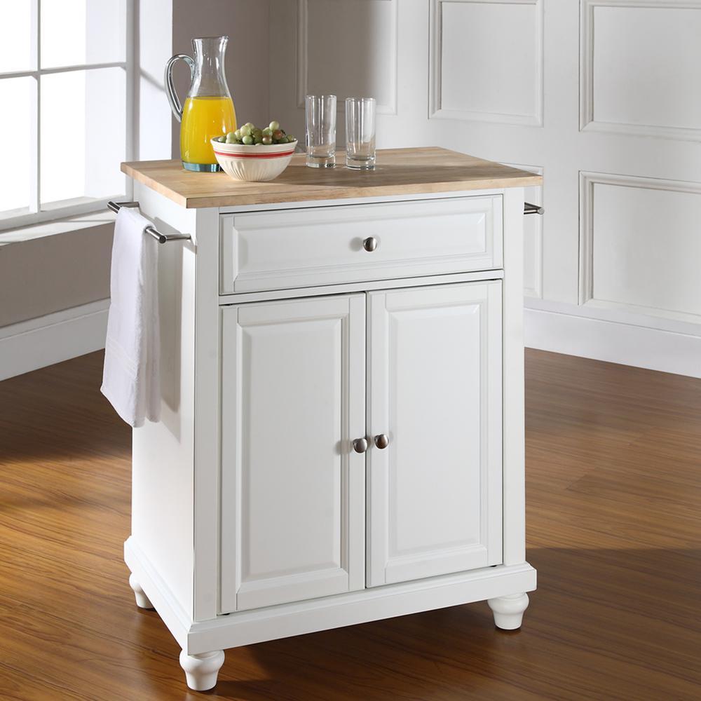 Cambridge White Portable Kitchen Island with Wood Top