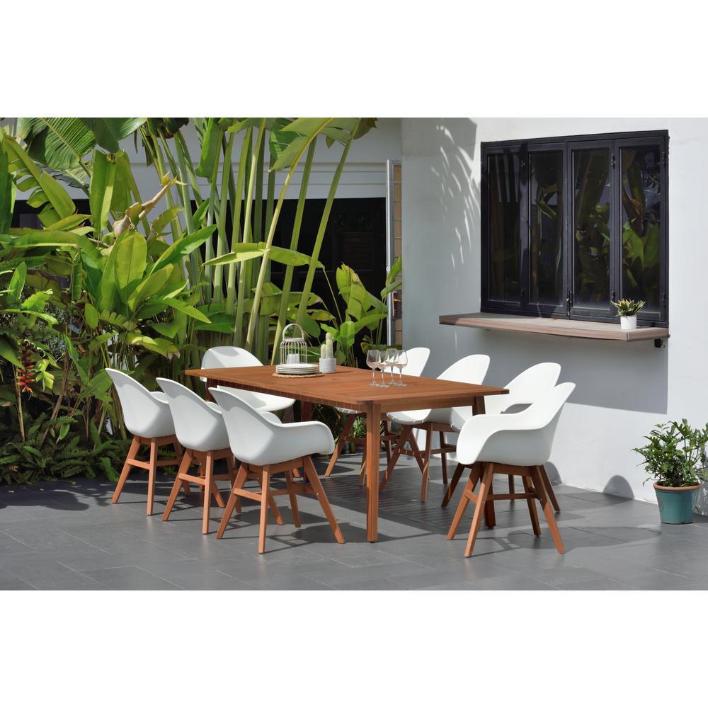 Deluxe Carilo 9-Piece Rectangular Patio Dining Set in White