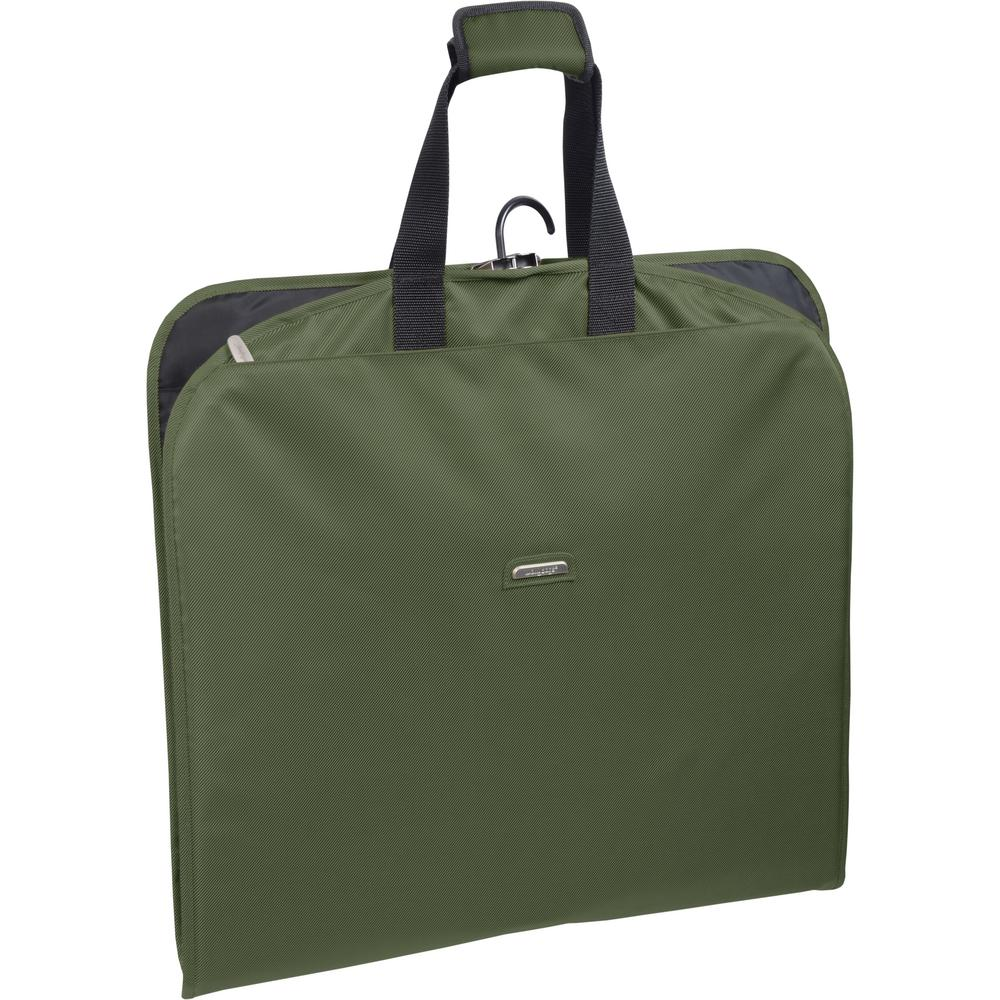 45 in. Olive Suit Length Carry-On Slim Garment Bag with Multiple