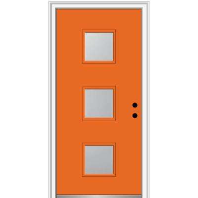 32 in. x 80 in. Aveline Left-Hand Inswing 3-Lite Frosted Painted Fiberglass Smooth Prehung Front Door 4-9/16 in. Frame
