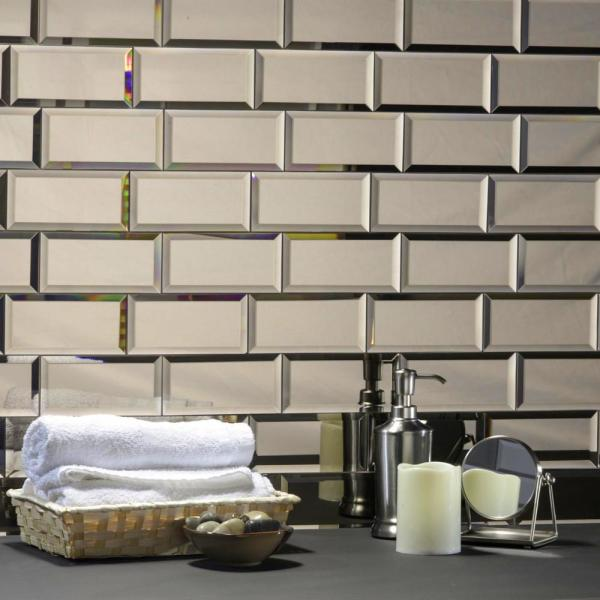 Abolos Reflections Gold Beveled Subway 3 In X 6 In Glass Mirror Wall Tile Sample Hmdref0306 Go S The Home Depot