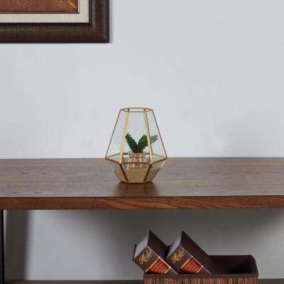 Diamond Shape Brass and Clear Glass Terrarium Decorative Vase