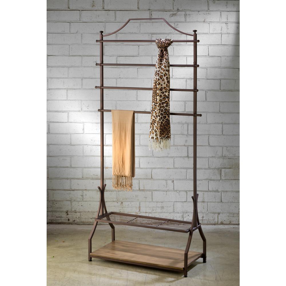 33 in. W x 72 in. H Bronze Metal with Wood Veneer Base Garment Rack and Portable Wardrobe