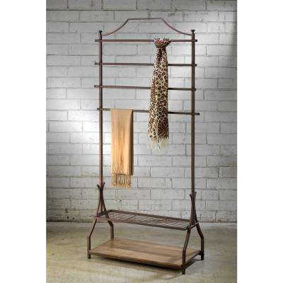 33 in. W x 72 in. H Bronze Metal with Wood Veneer Base Garment Rack and Portable Wardrobe