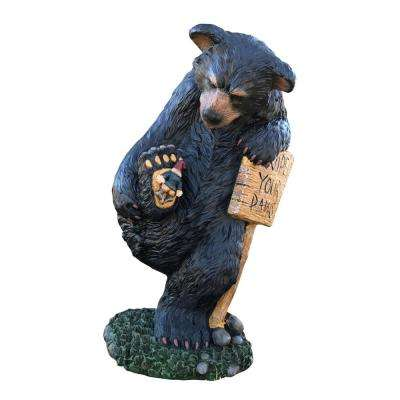 15 in. Wipe Your Paws Bear Statuary