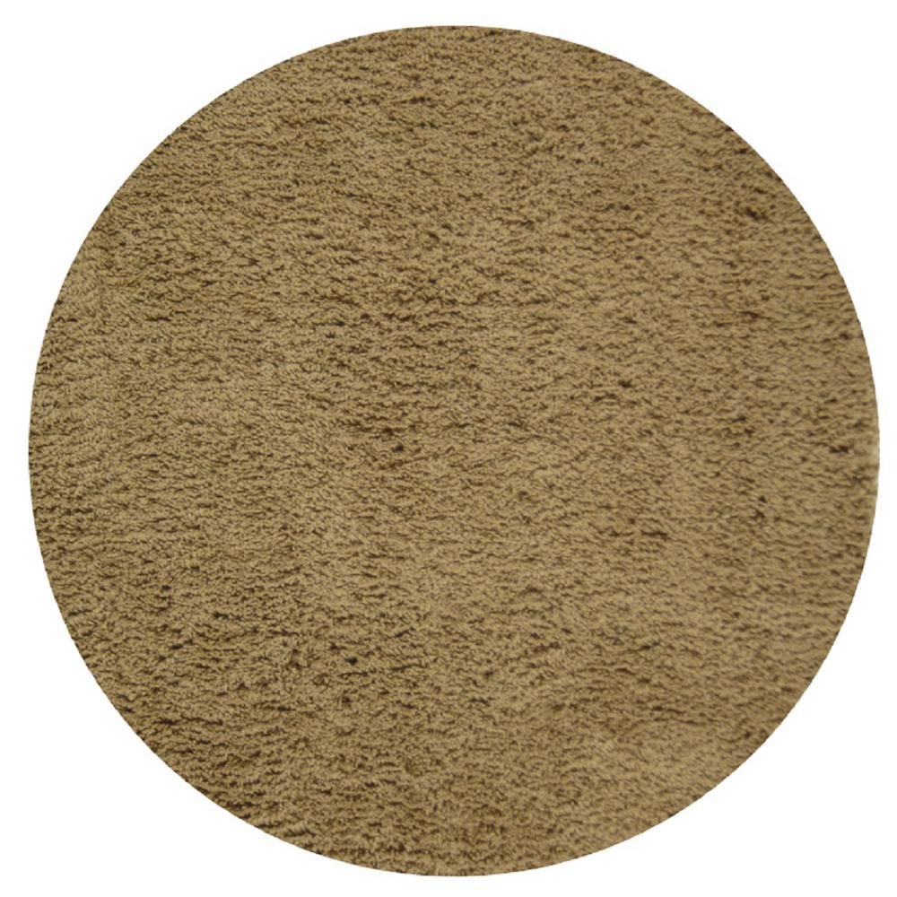 Classic Shag Taupe 6 ft. x 6 ft. Round Area Rug