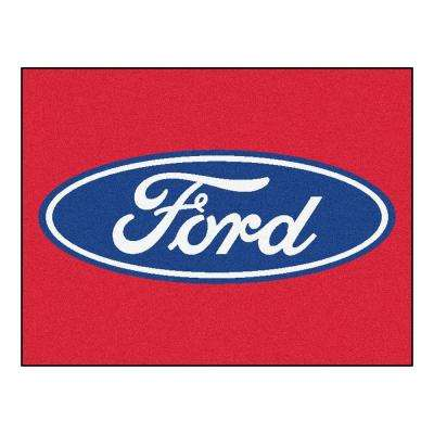 Ford - Oval Red 3 ft. x 4 ft. Indoor Rectangle Area Rug