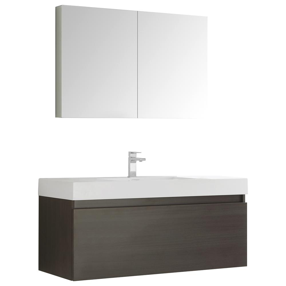 Fresca Mezzo 48 in. Vanity in Gray Oak with Acrylic Vanity Top in White with White Basin and Mirrored Medicine Cabinet