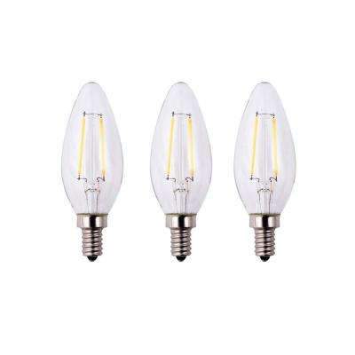 25-Watt Equivalent B11 Dimmable Energy Star Clear Filament Vintage Style LED Light Bulb Soft White (3-Pack)