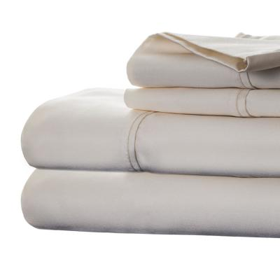 4-Piece Ivory Solid 1000 Thread Count Cotton Blend King Sheet Set