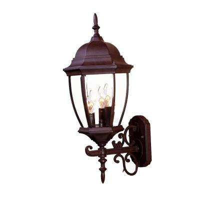 Wexford Collection 3-Light Burled Walnut Outdoor Wall-Mount Light Fixture