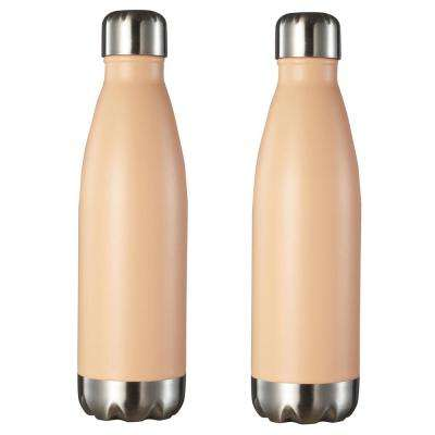 Marina 16 oz. Pastel Orange Double Wall Stainless Steel Water Bottle (2-Pack)