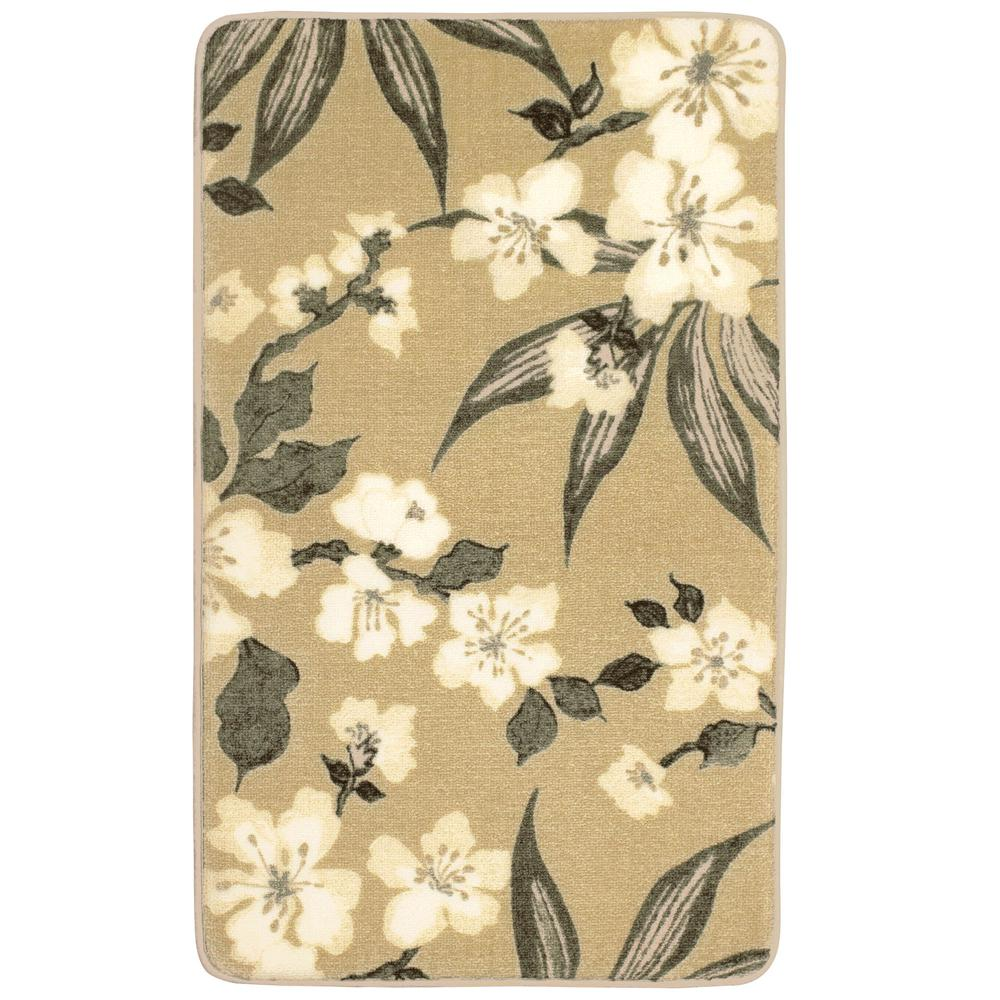 Laura Ashley Madeline Taupe 2 Ft X 4 High Definition Printed Memory Foam