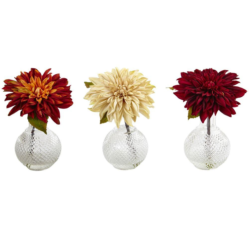 Nearly Natural 8 in. Dahlia with Decorative Vase (Set of 3)