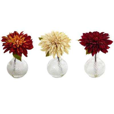 8 in. Dahlia with Decorative Vase (Set of 3)