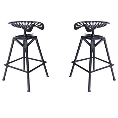 Tractor Adjustable Copper Brushed Gray Barstool (Set of 2)