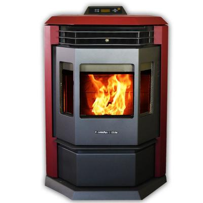 2800 sq. ft. EPA Certified Pellet Stove with Remote Control and Programmable Thermostat in Burgundy
