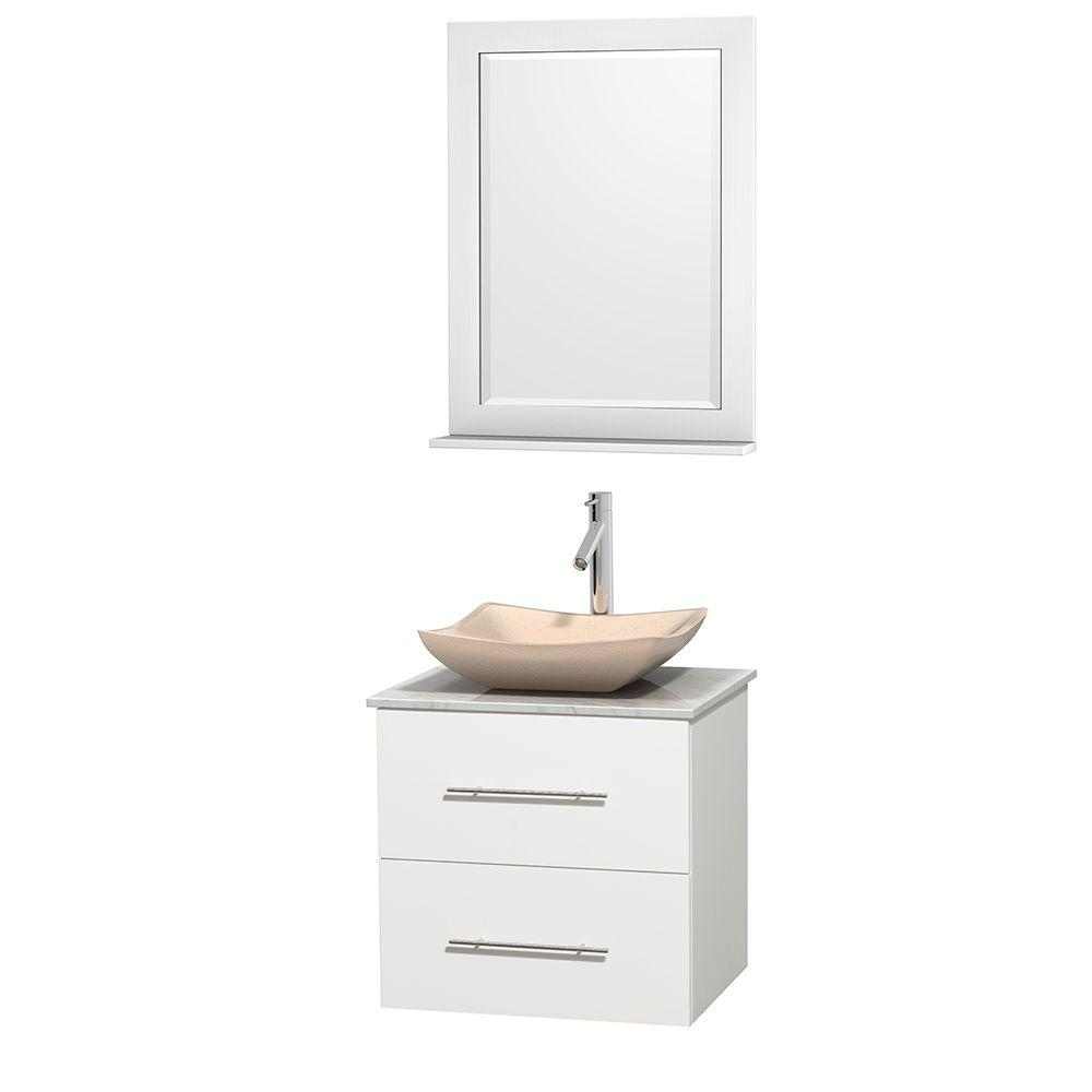 Wyndham Collection Centra 24 in. Vanity in White with Marble Vanity Top in Carrara White, Ivory Marble Sink and 24 in. Mirror