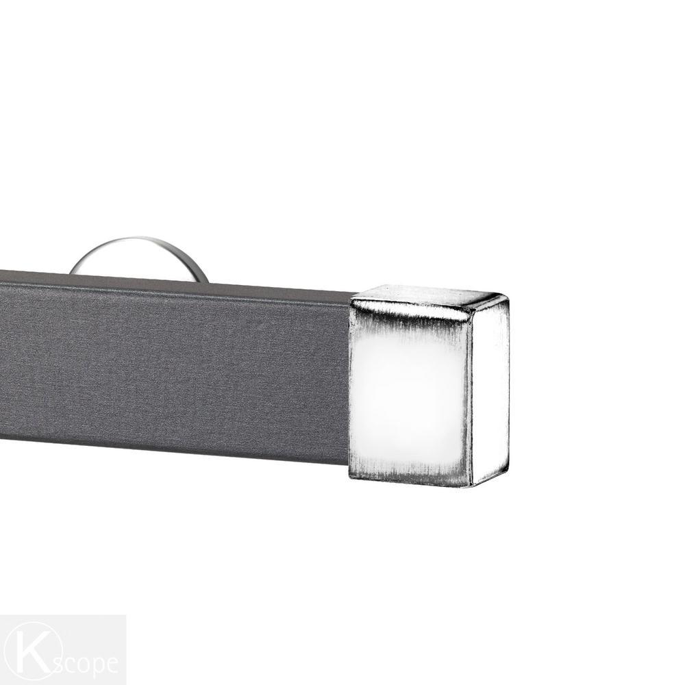 Kontur Wood 48 in. Traverse Rod Smoke with Endcap in Silver