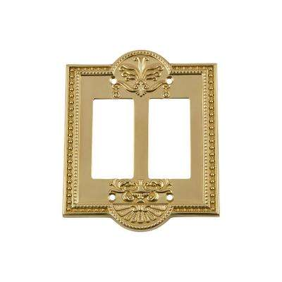 Meadows Switch Plate with Double Rocker in Polished Brass