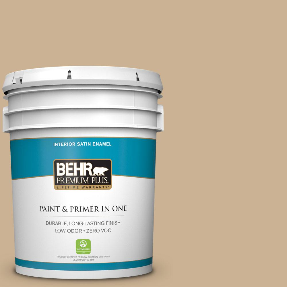 5-gal. #PWL-84 Tropical Tan Zero VOC Satin Enamel Interior Paint