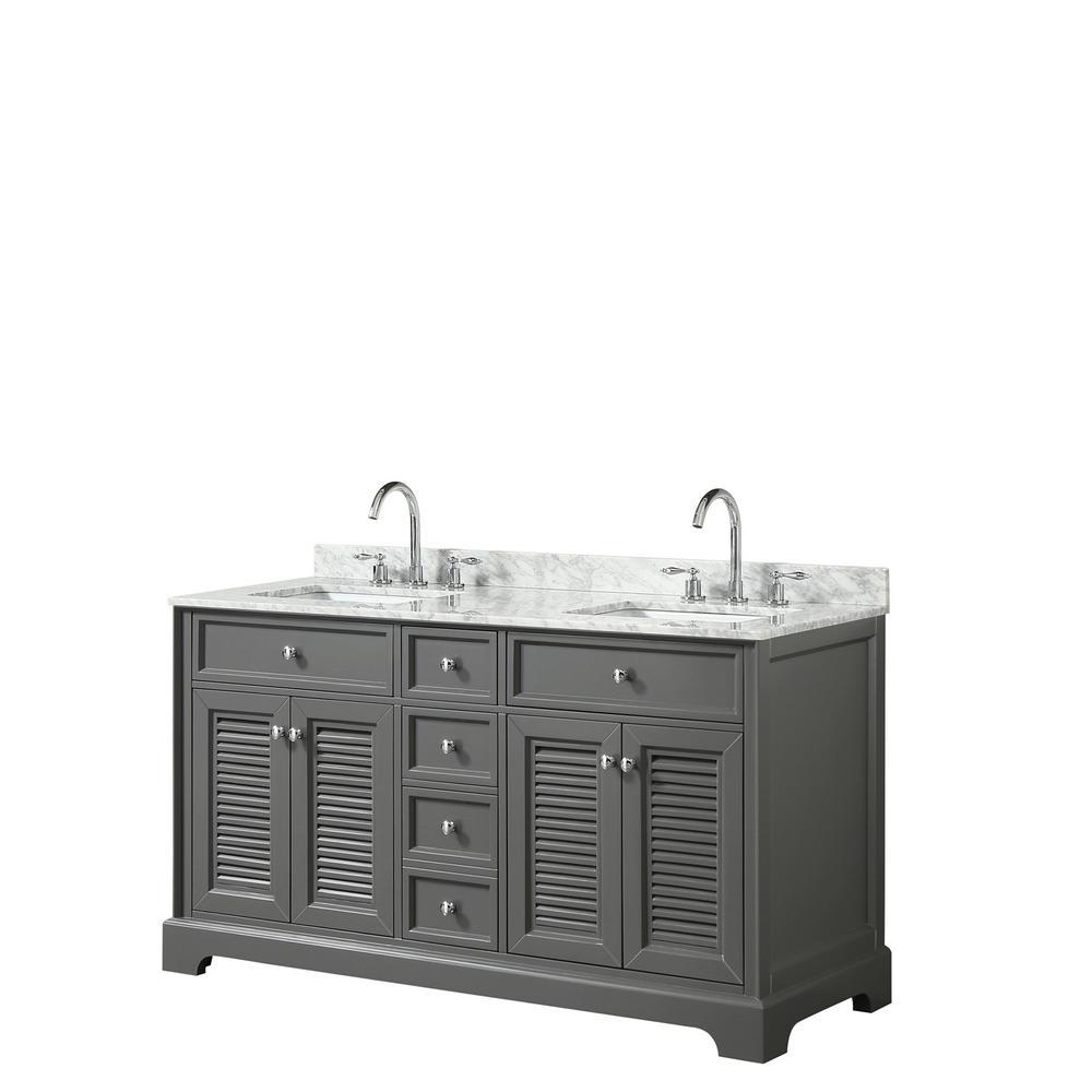 Double Bathroom Vanity In Dark Gray With Marble