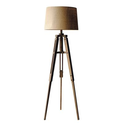62.25 in. Brown Tripod Floor Lamp with Drum Shade