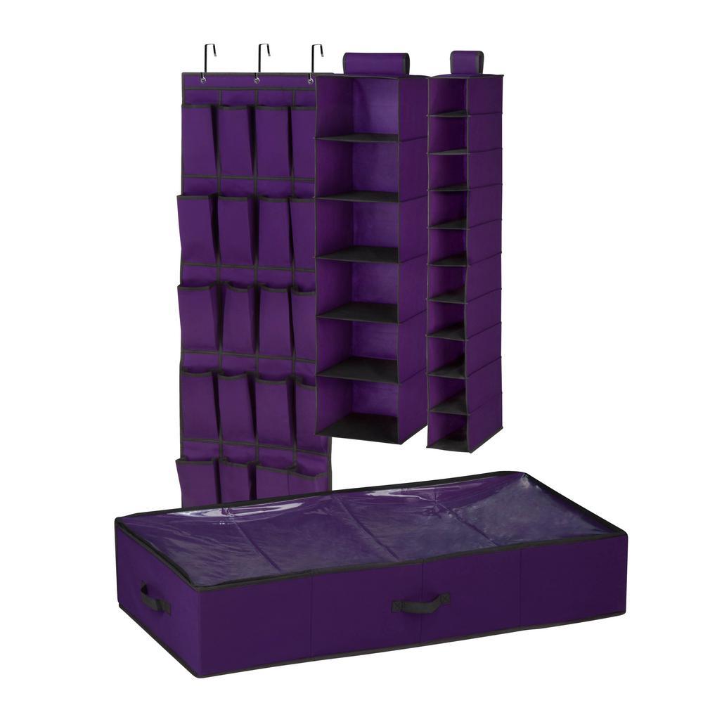 10-Pair Room Shoe Organizer Set in Purple/Black (4-Piece)