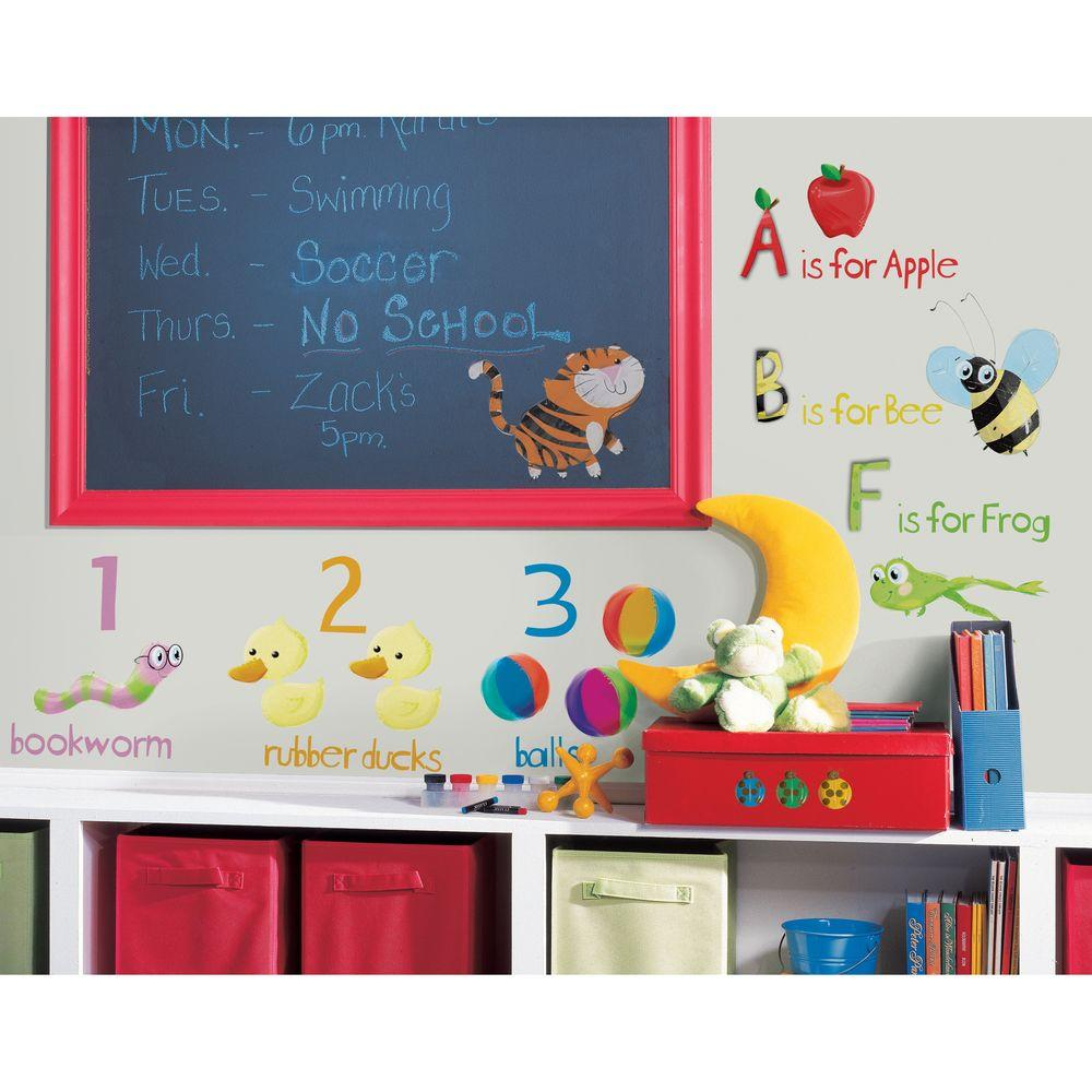 null 10 in. x 18 in. Education Station 115- Piece Peel and Stick Wall Decals