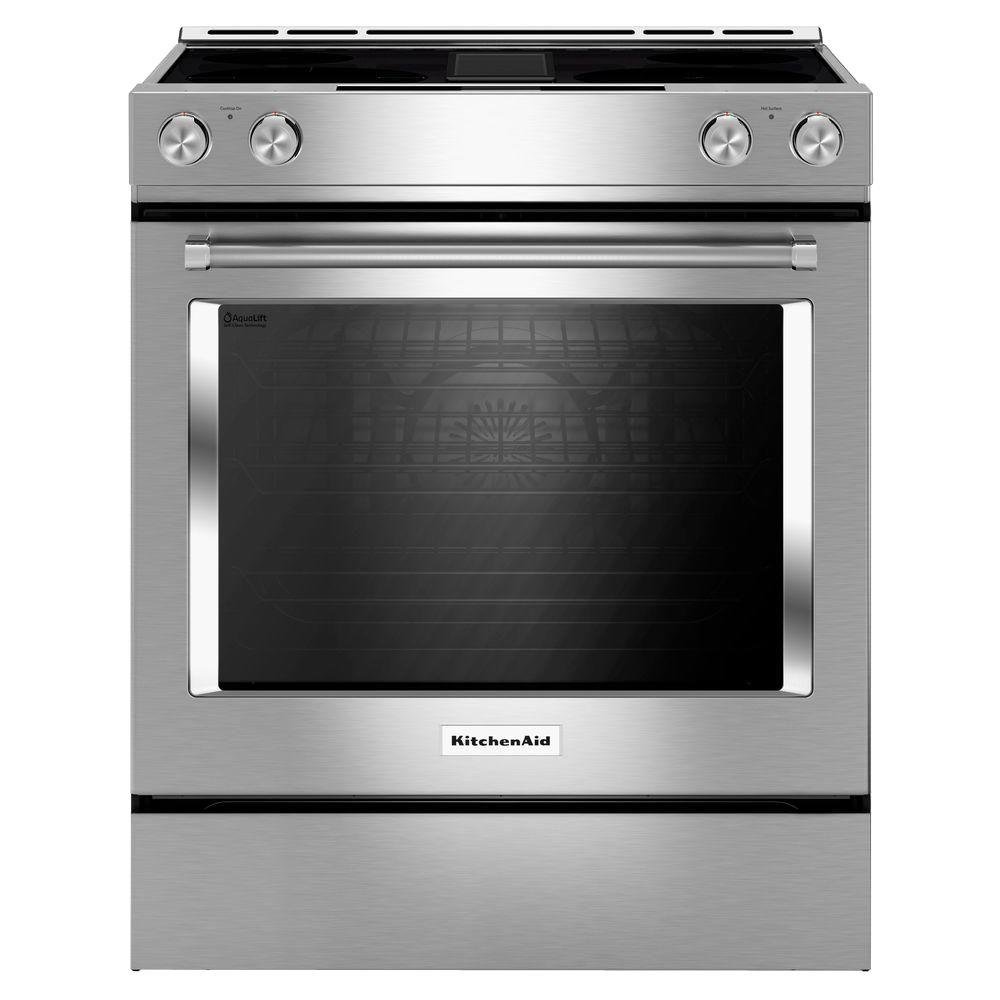KitchenAid 6.4 cu. ft. Downdraft Slide-In Electric Range with Self-Cleaning Convection Oven in Stainless Steel