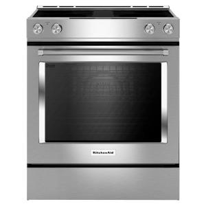 KitchenAid 30 inch 6.4 cu. ft. Downdraft Slide-In Electric Range with Self-Cleaning Convection Oven in Stainless Steel by KitchenAid