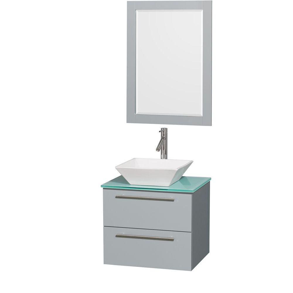 Wyndham Collection Amare 24 in. W x 19.5 in. D Vanity in Dove Gray with Glass Vanity Top in Green with White Basin and 24 in. Mirror