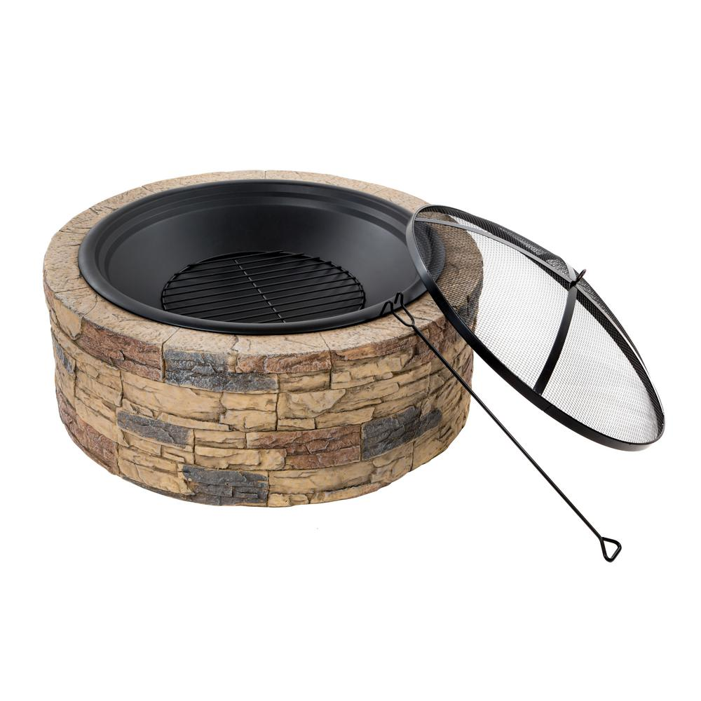 Round Cast Stone Wood Burning Fire Pit