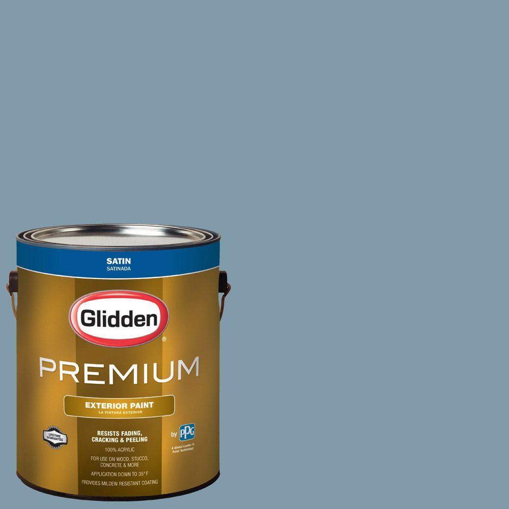 Glidden Premium 1 Gal. #HDGB60U Lakefront Blue Satin Latex Exterior Paint