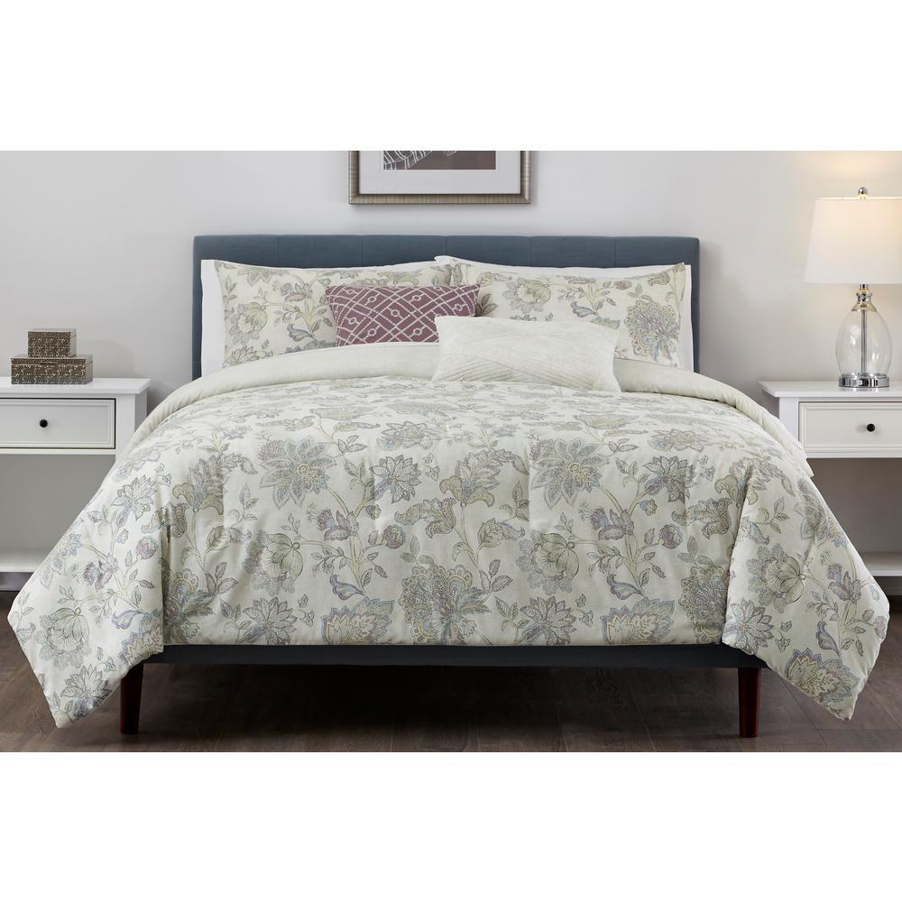 Brianna 5-Piece Lavender Floral Full/Queen Comforter Set