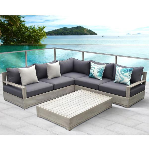 OVE Decors Beranda Gray 3-Piece Wood Outdoor Sectional Set with Gray Cushions