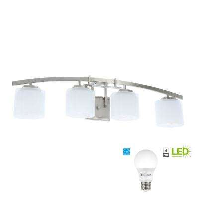 LED Architecture 4-Light Brushed Nickel Vanity Light with Etched White Glass Shades