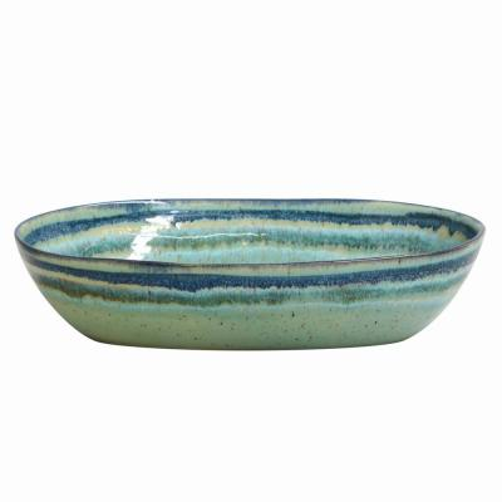 Sausalito 12.5 in. 48 fl. oz. Green Ceramic Stoneware Oval Serving Bowl
