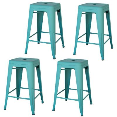 Loft Style 24 in. Teal Stackable Metal Bar Stool (Set of 4)