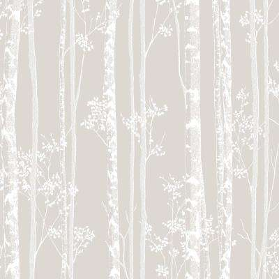 Taupe And White Linden Wallpaper