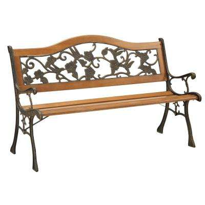 2-Person Antique Oak Finish Outdoor Bench - Metal Patio Furniture - Outdoor Benches - Patio Chairs - The Home