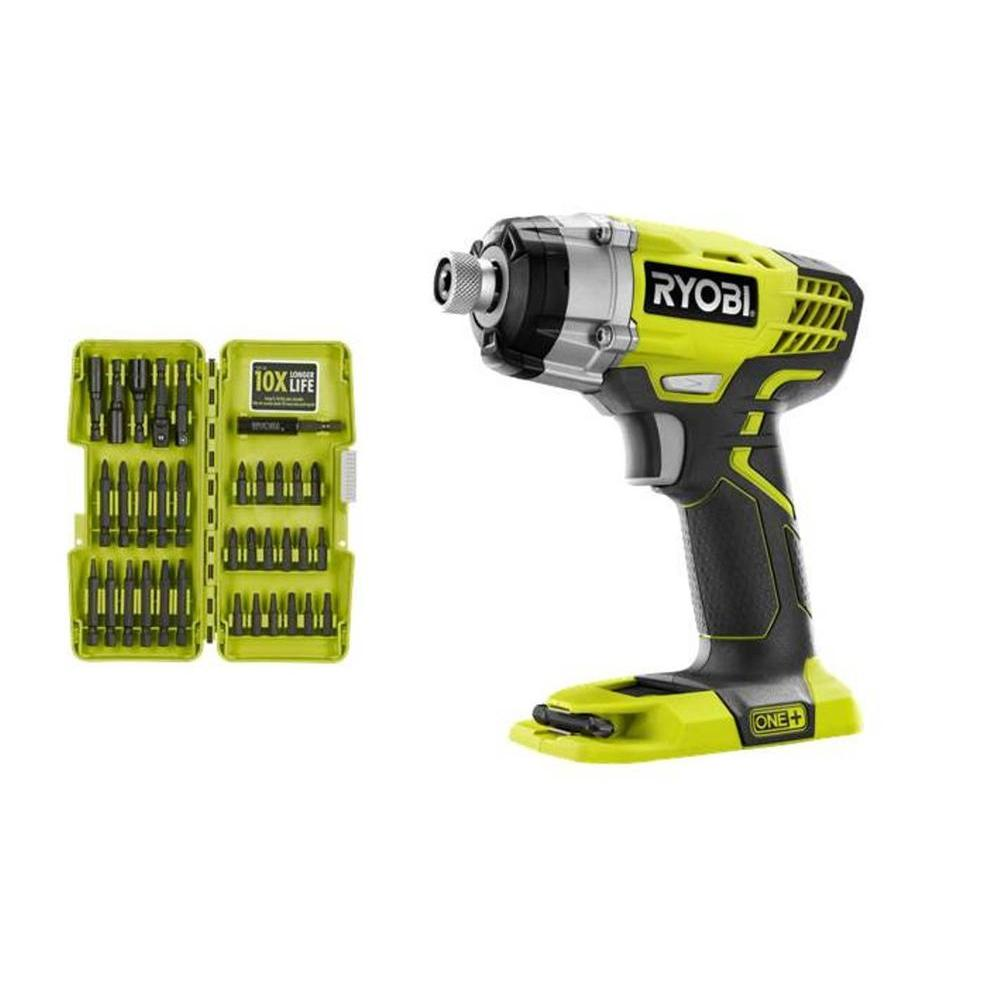 Ryobi ONE+ 18-Volt Impact Driver (Bare Tool) with Impact Driver Bit Set (34-Piece)