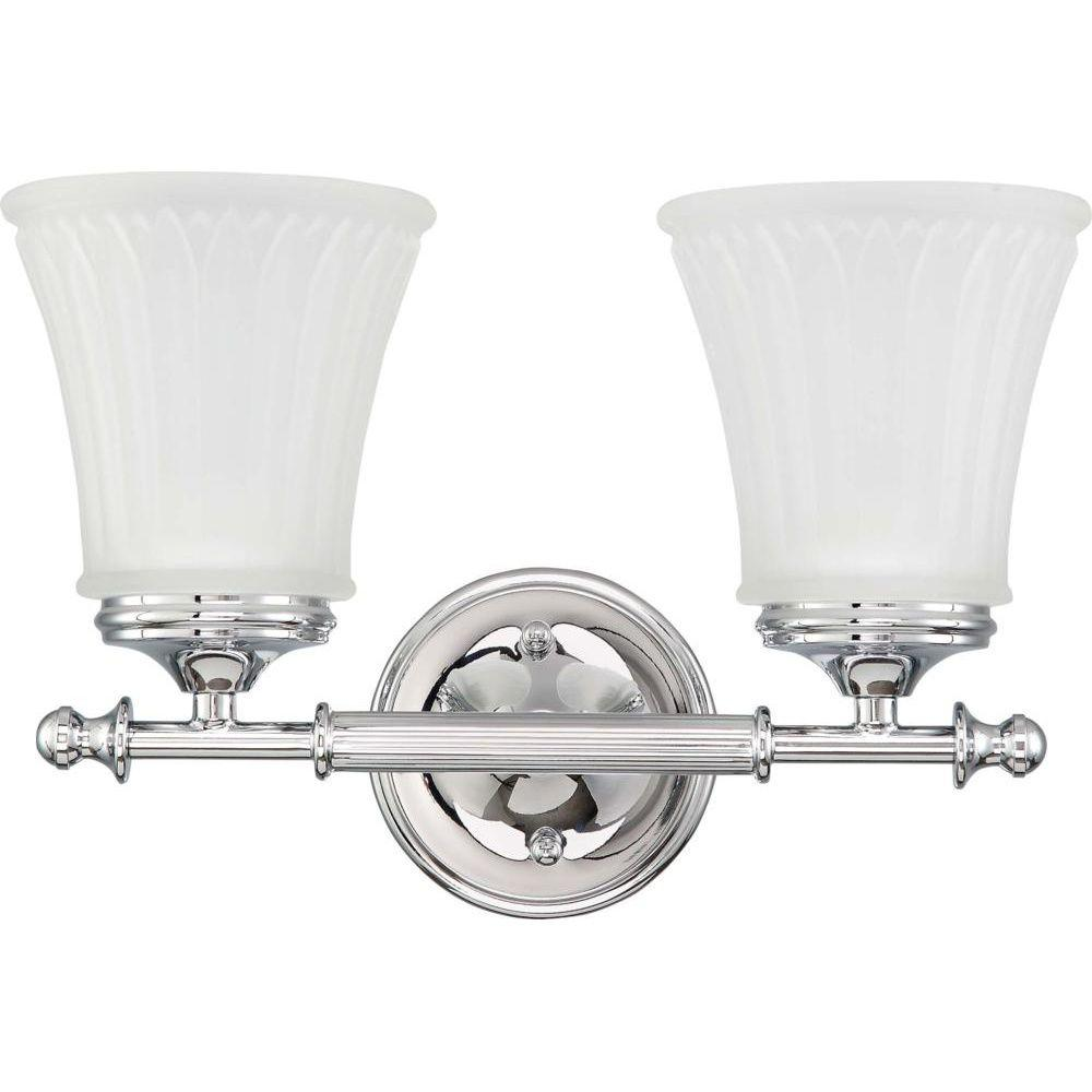 Glomar Lamberta 2 Light Polished Chrome Bath Vanity With Frosted Etched Gl